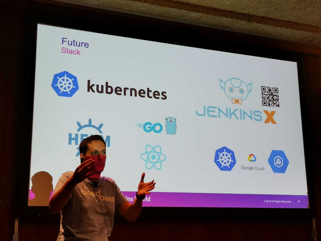 Picture taken during the presentation at DWJW 2019. I'm showing the tech stack of the new CloudBees' training platform